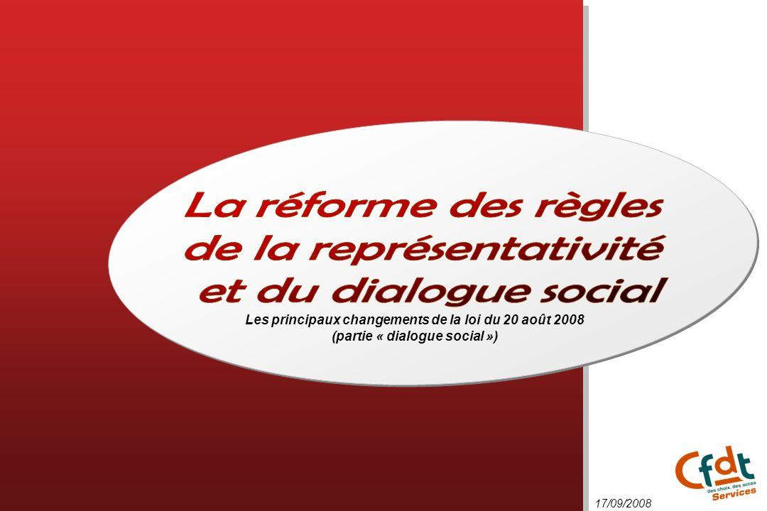 de la représentativité et du dialogue social