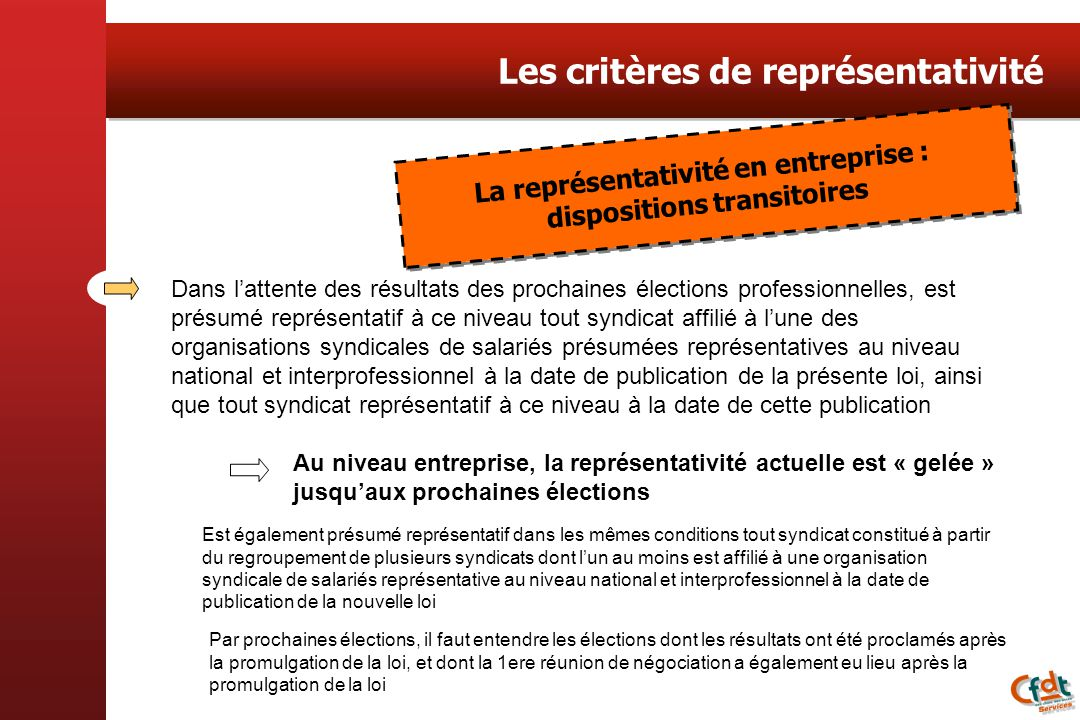 La représentativité en entreprise : dispositions transitoires