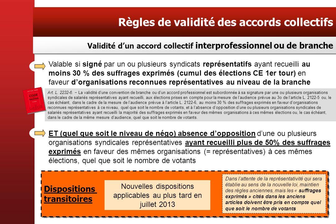 Nouvelles dispositions applicables au plus tard en juillet 2013