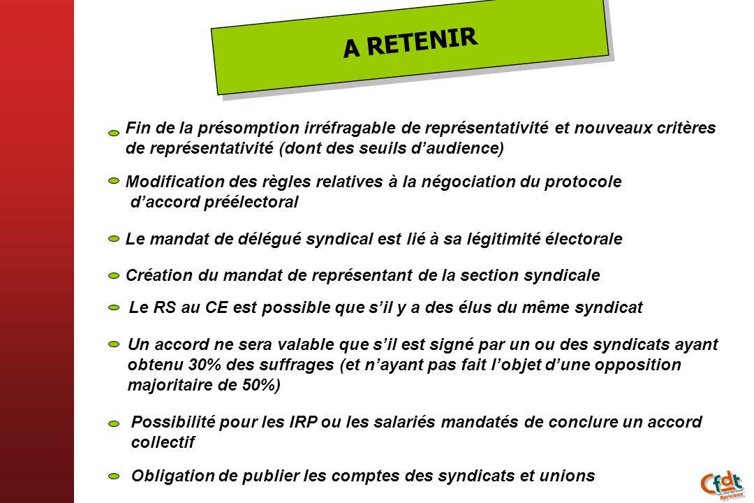 A RETENIR Fin de la présomption irréfragable de représentativité et nouveaux critères de représentativité (dont des seuils d'audience)