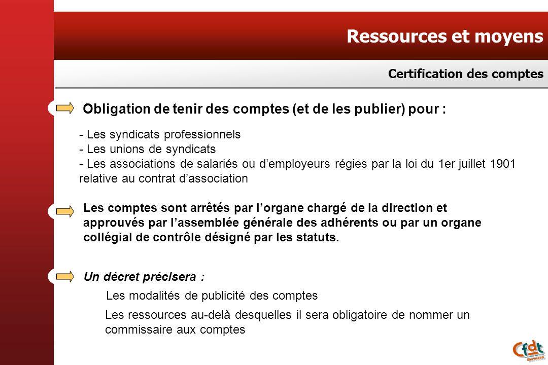 Ressources et moyens Certification des comptes. Obligation de tenir des comptes (et de les publier) pour :