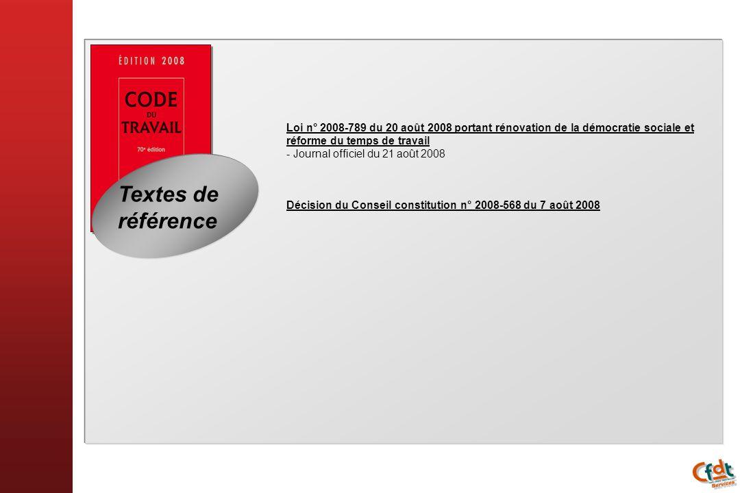 Loi n° 2008-789 du 20 août 2008 portant rénovation de la démocratie sociale et réforme du temps de travail