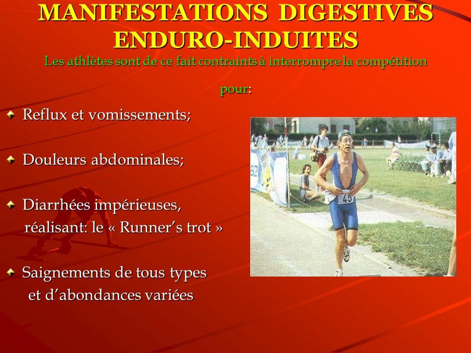 MANIFESTATIONS DIGESTIVES ENDURO-INDUITES Les athlètes sont de ce fait contraints à interrompre la compétition pour: