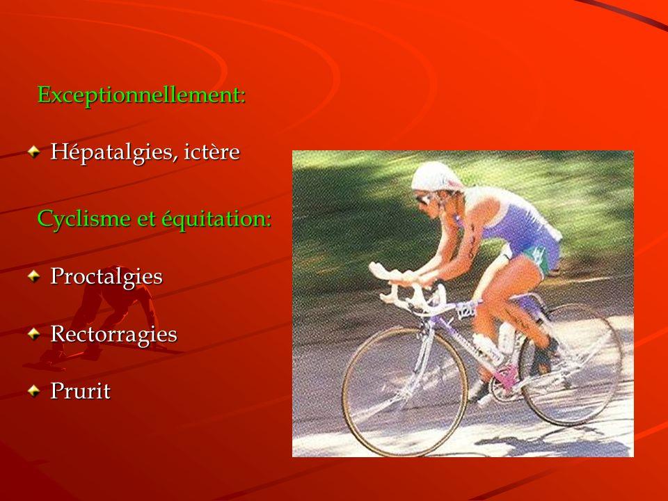 Exceptionnellement: Hépatalgies, ictère Cyclisme et équitation: Proctalgies Rectorragies Prurit