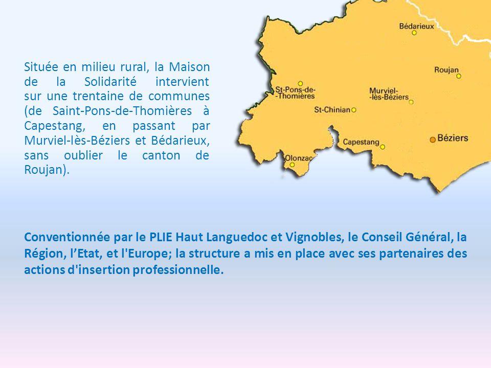 Située en milieu rural, la Maison de la Solidarité intervient sur une trentaine de communes (de Saint-Pons-de-Thomières à Capestang, en passant par Murviel-lès-Béziers et Bédarieux, sans oublier le canton de Roujan).