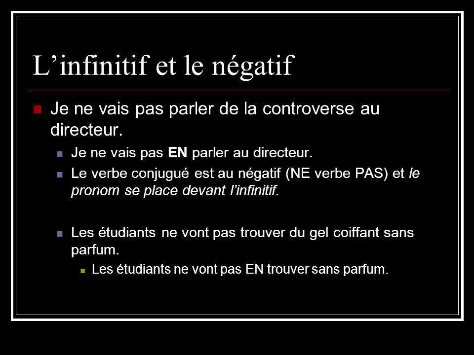 L'infinitif et le négatif