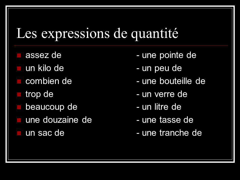 Les expressions de quantité