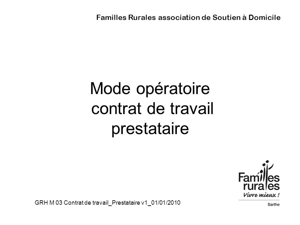 Mode opératoire contrat de travail prestataire