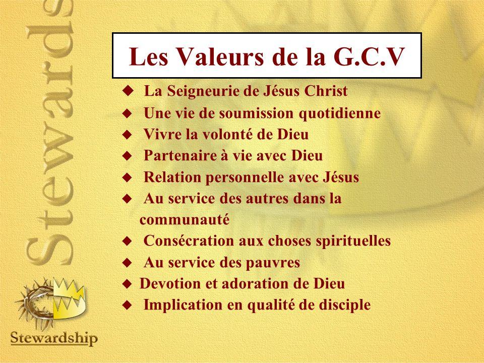 Les Valeurs de la G.C.V La Seigneurie de Jésus Christ