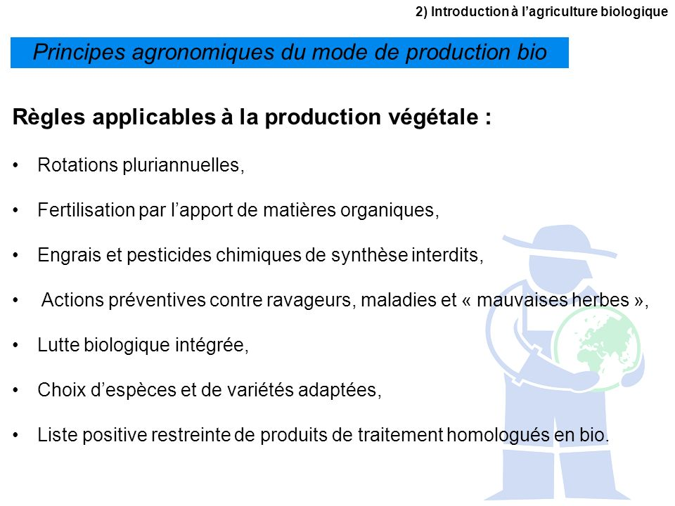 Principes agronomiques du mode de production bio