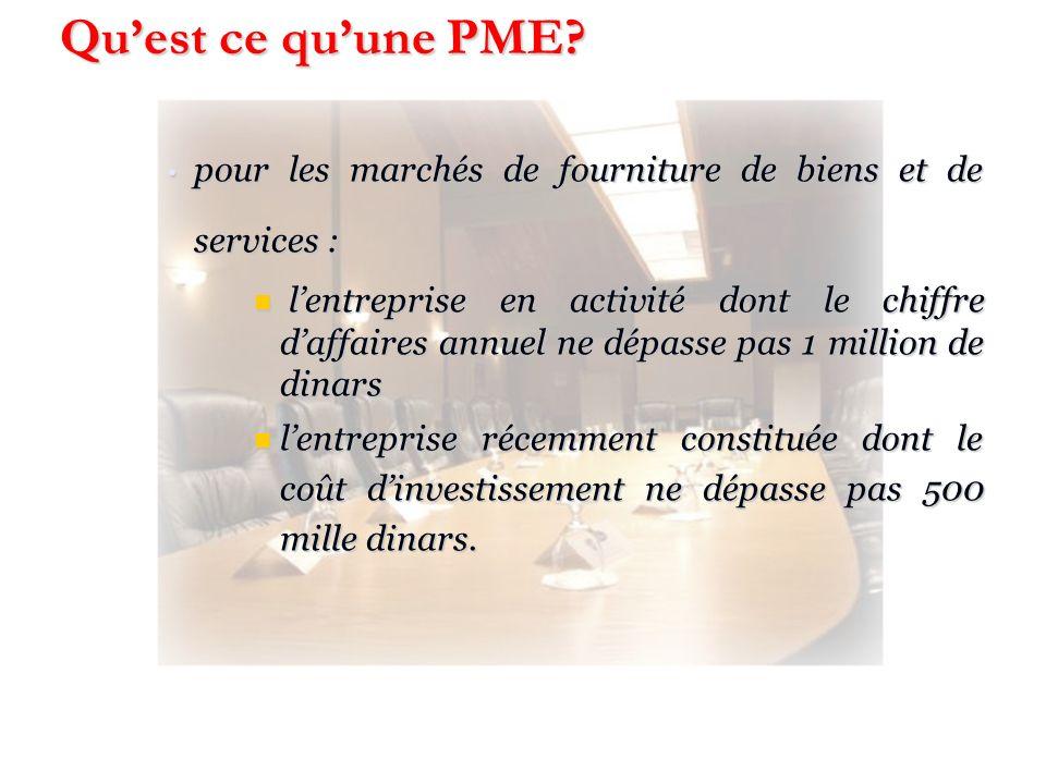 Qu'est ce qu'une PME pour les marchés de fourniture de biens et de services :