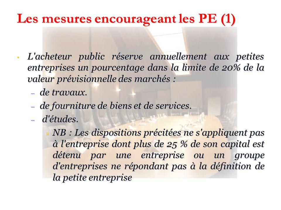 Les mesures encourageant les PE (1)