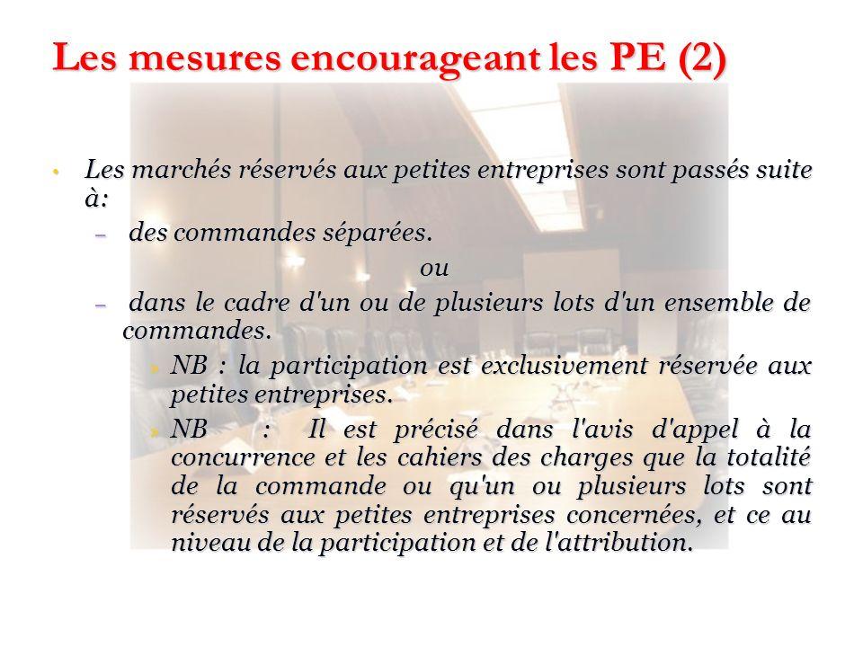 Les mesures encourageant les PE (2)