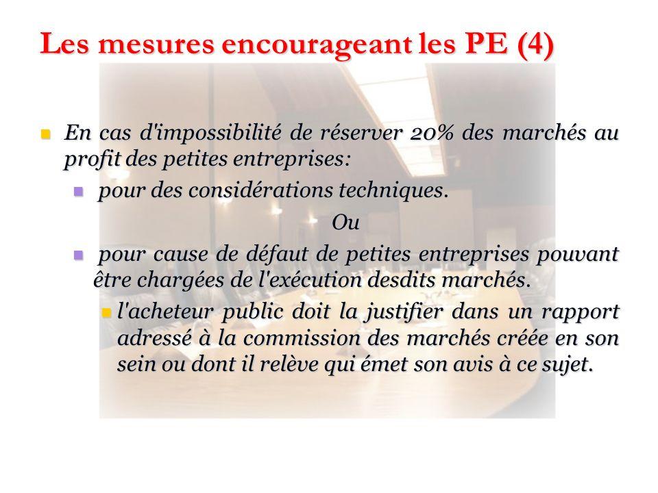 Les mesures encourageant les PE (4)