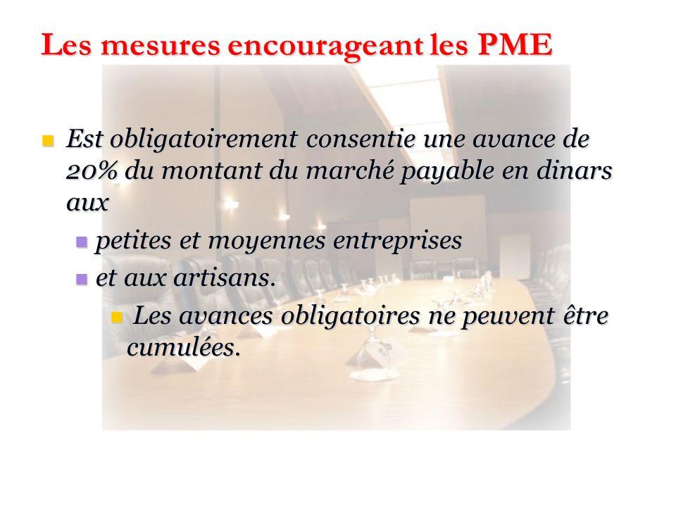 Les mesures encourageant les PME