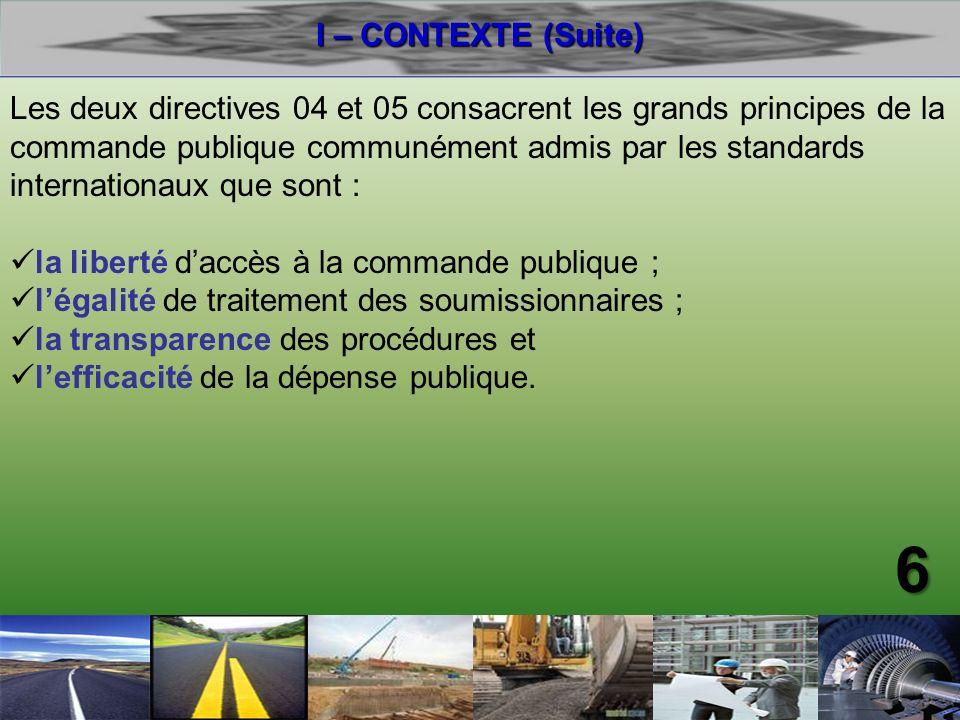 I – CONTEXTE (Suite)