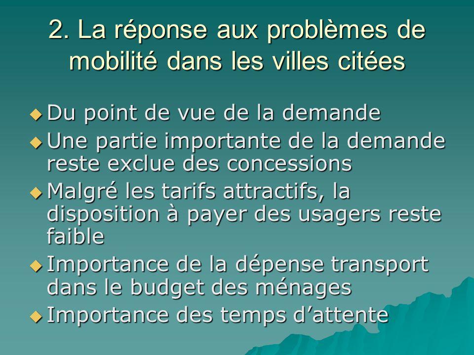 2. La réponse aux problèmes de mobilité dans les villes citées