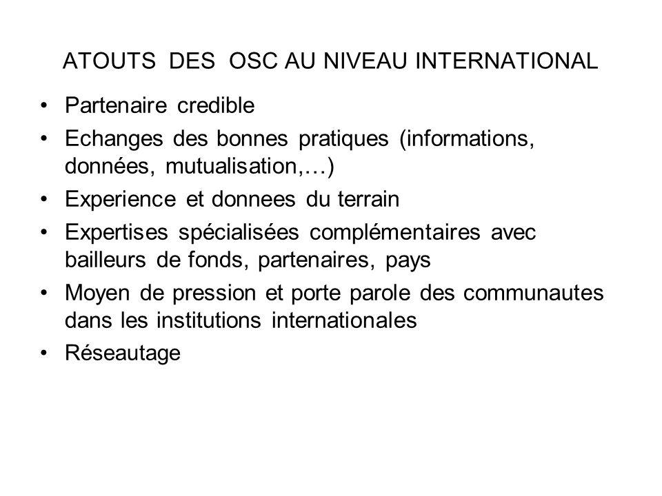 ATOUTS DES OSC AU NIVEAU INTERNATIONAL