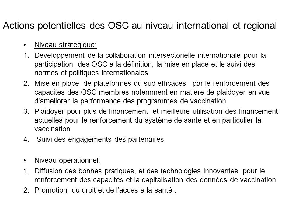 Actions potentielles des OSC au niveau international et regional