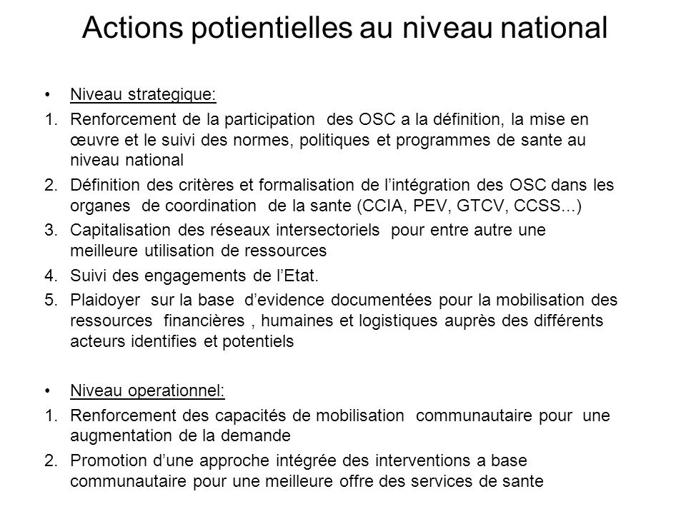 Actions potientielles au niveau national