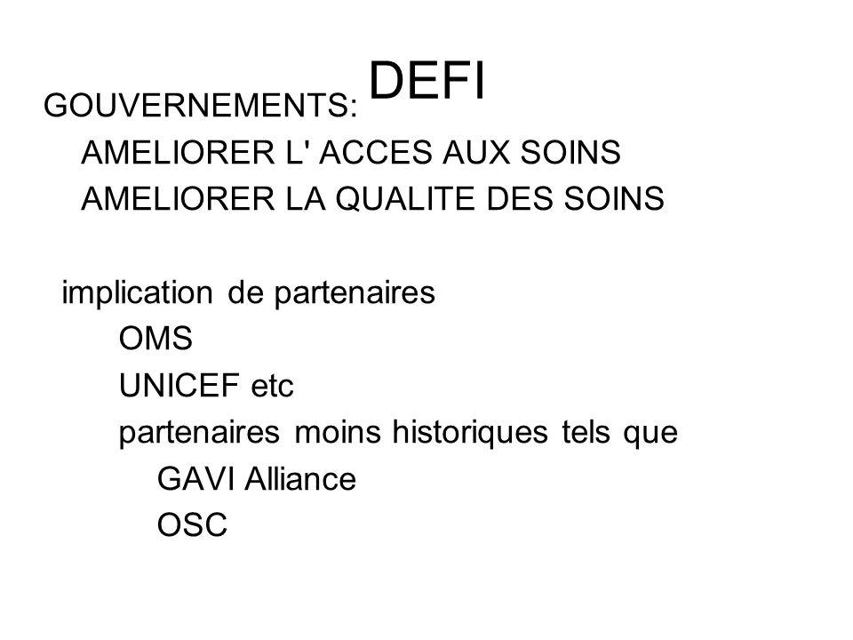 DEFI GOUVERNEMENTS: AMELIORER L ACCES AUX SOINS