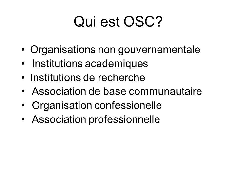 Qui est OSC Organisations non gouvernementale