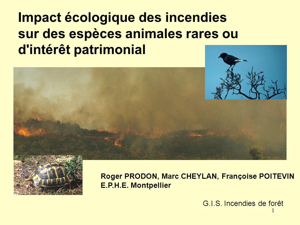 Impact écologique des incendies sur des espèces animales rares ou