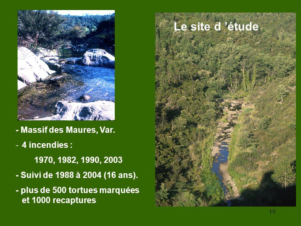Le site d 'étude - Massif des Maures, Var. 4 incendies :