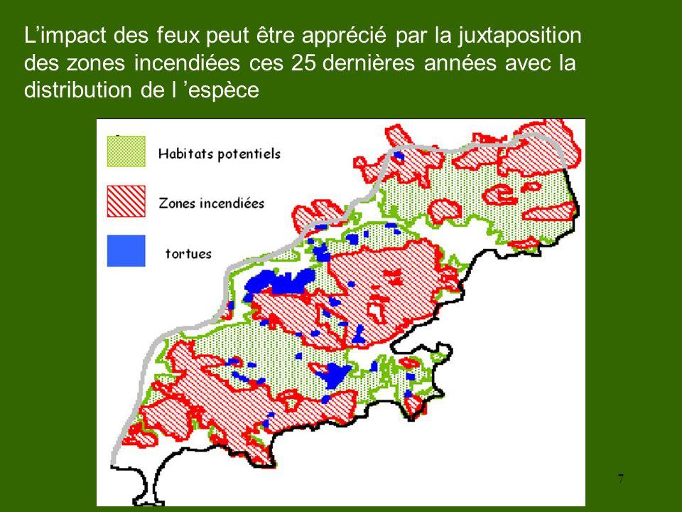 L'impact des feux peut être apprécié par la juxtaposition des zones incendiées ces 25 dernières années avec la distribution de l 'espèce