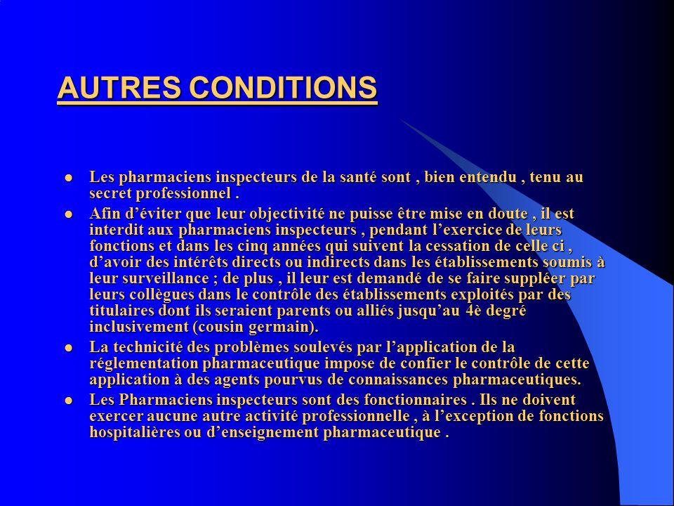 AUTRES CONDITIONS Les pharmaciens inspecteurs de la santé sont , bien entendu , tenu au secret professionnel .