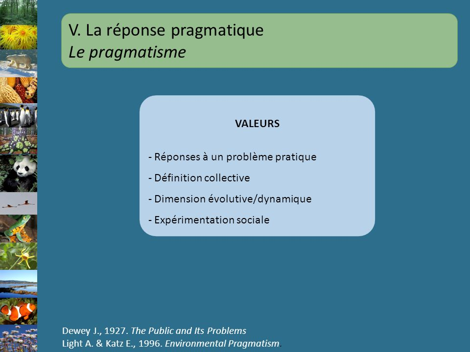 V. La réponse pragmatique Le pragmatisme