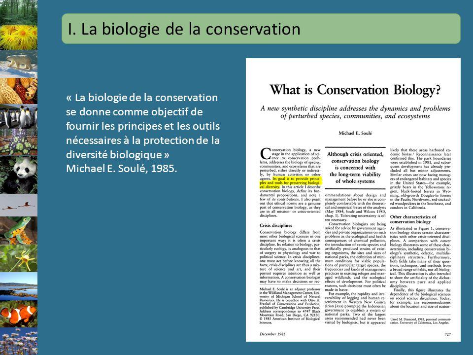 I. La biologie de la conservation