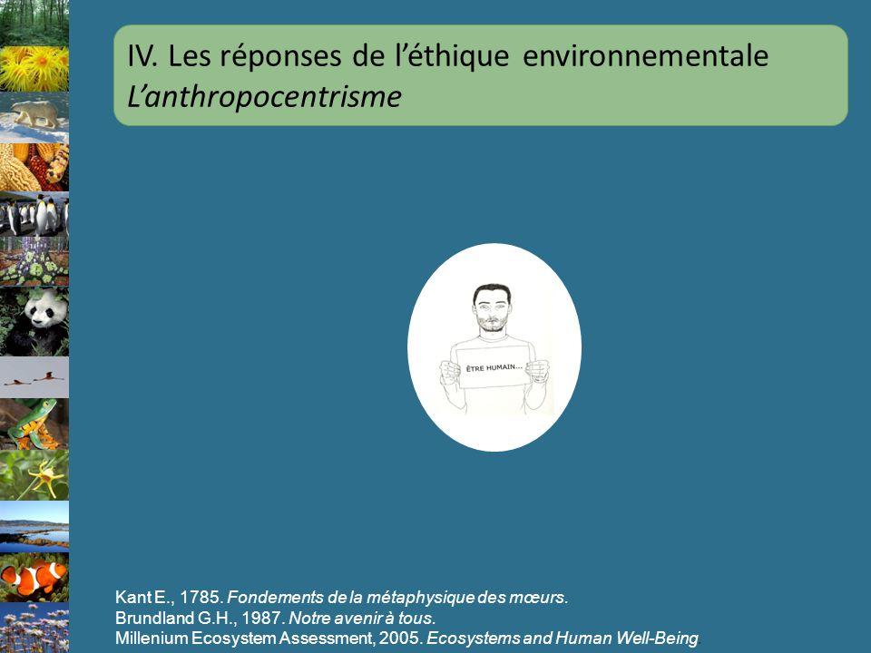 IV. Les réponses de l'éthique environnementale L'anthropocentrisme