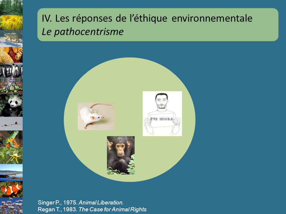 IV. Les réponses de l'éthique environnementale Le pathocentrisme
