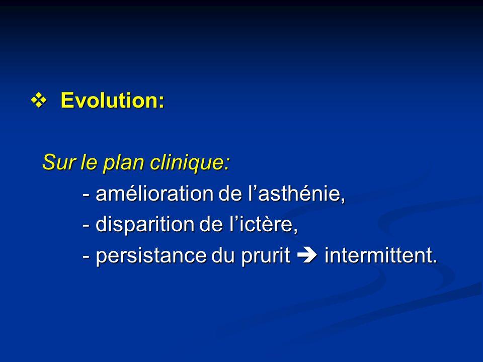 Evolution: Sur le plan clinique: - amélioration de l'asthénie, - disparition de l'ictère, - persistance du prurit  intermittent.