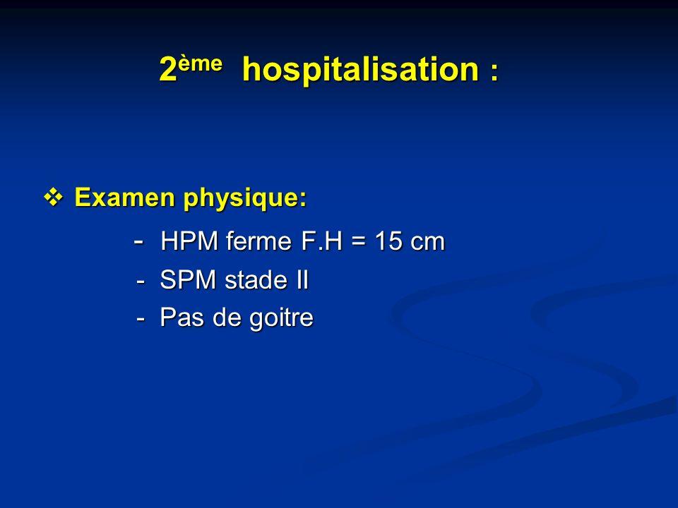 2ème hospitalisation : - HPM ferme F.H = 15 cm Examen physique: