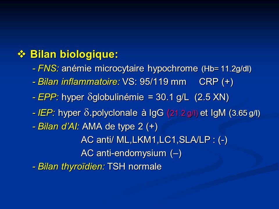 Bilan biologique: - FNS: anémie microcytaire hypochrome (Hb= 11.2g/dl)