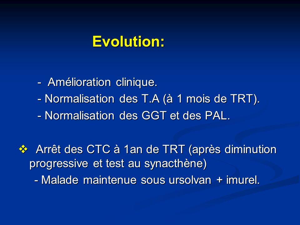 Evolution: - Amélioration clinique.