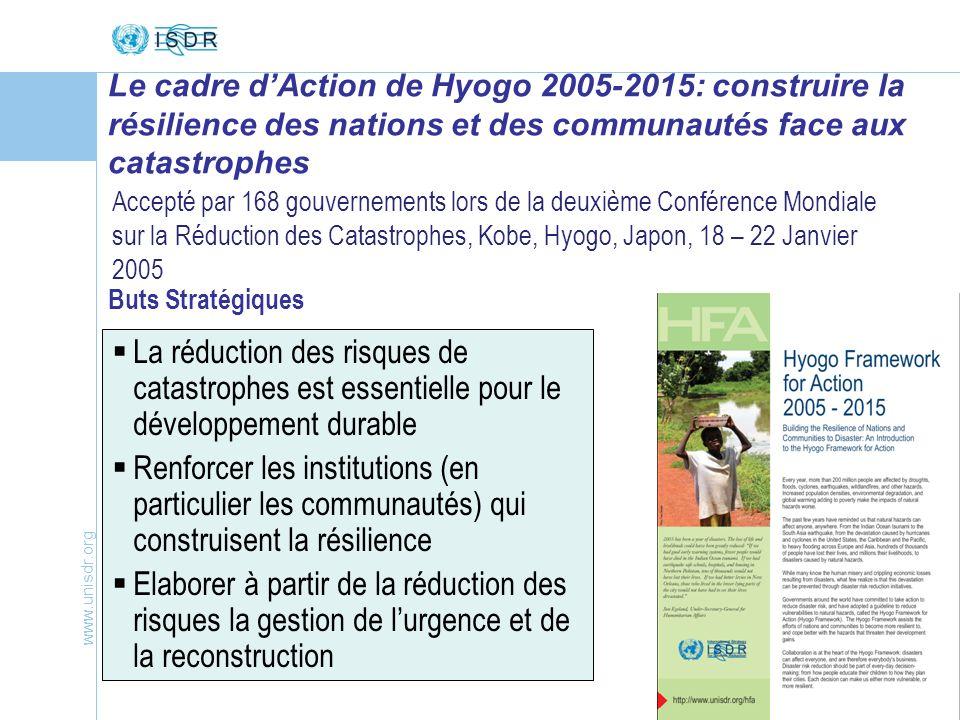 Le cadre d'Action de Hyogo 2005-2015: construire la résilience des nations et des communautés face aux catastrophes