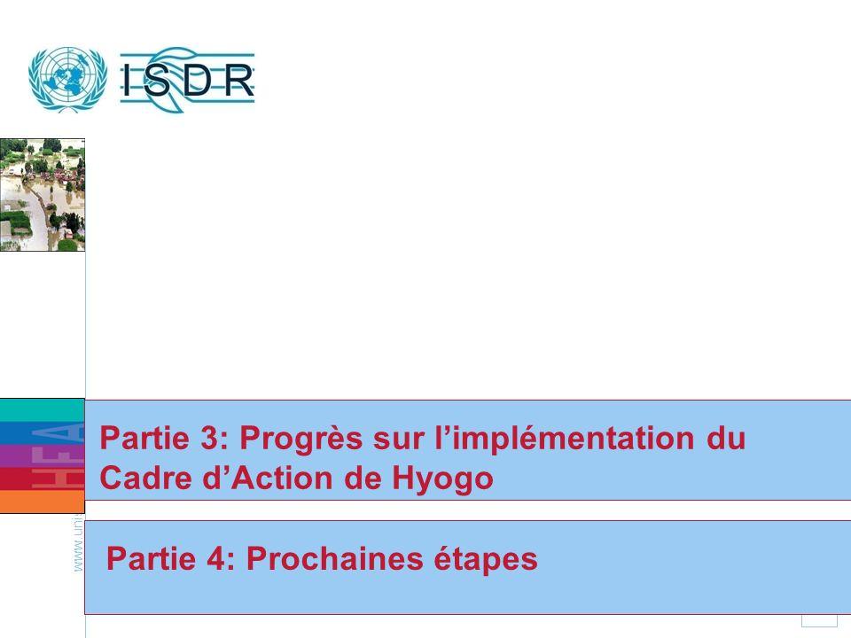 Partie 3: Progrès sur l'implémentation du Cadre d'Action de Hyogo