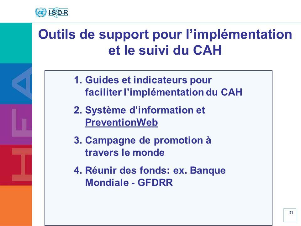 Outils de support pour l'implémentation et le suivi du CAH