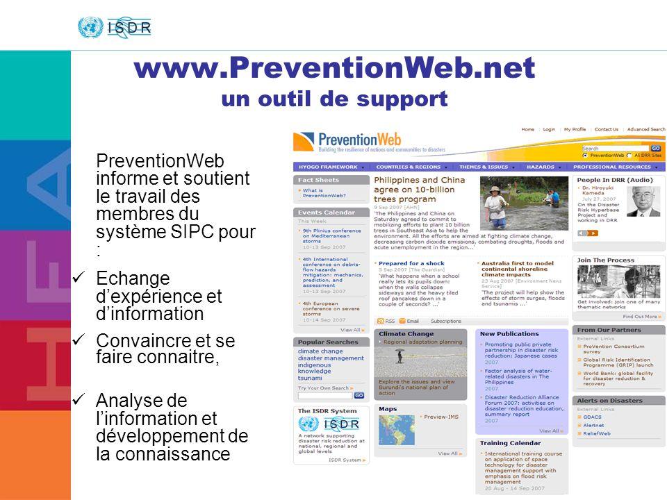 www.PreventionWeb.net un outil de support
