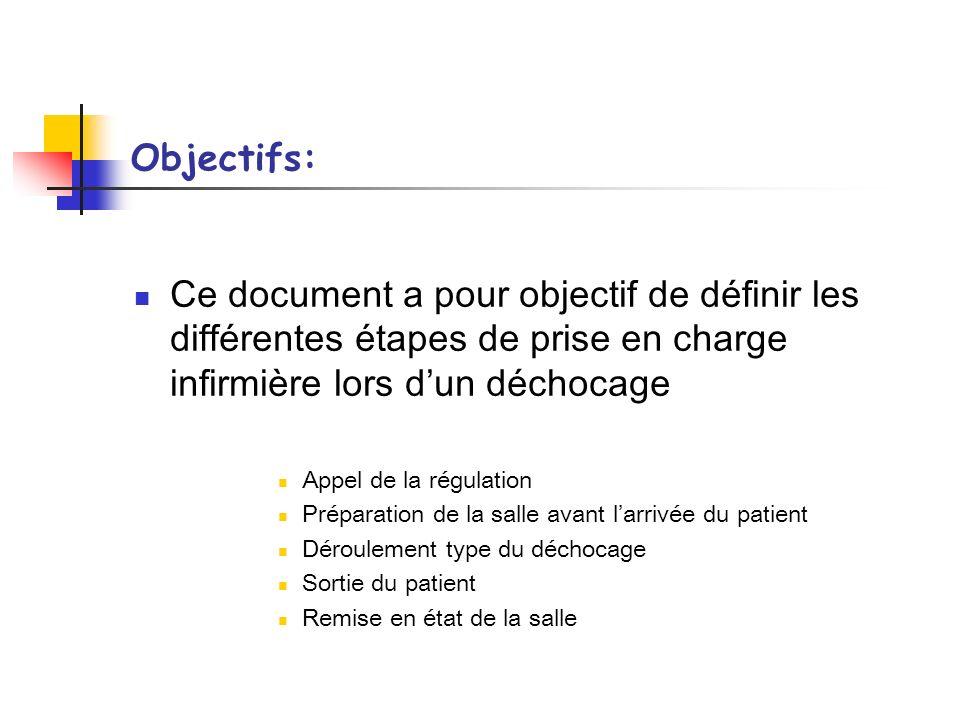 Objectifs:Ce document a pour objectif de définir les différentes étapes de prise en charge infirmière lors d'un déchocage.