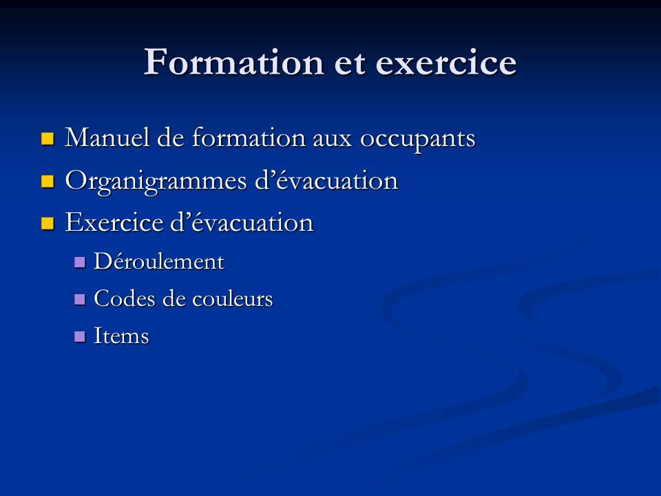 Formation et exercice Manuel de formation aux occupants
