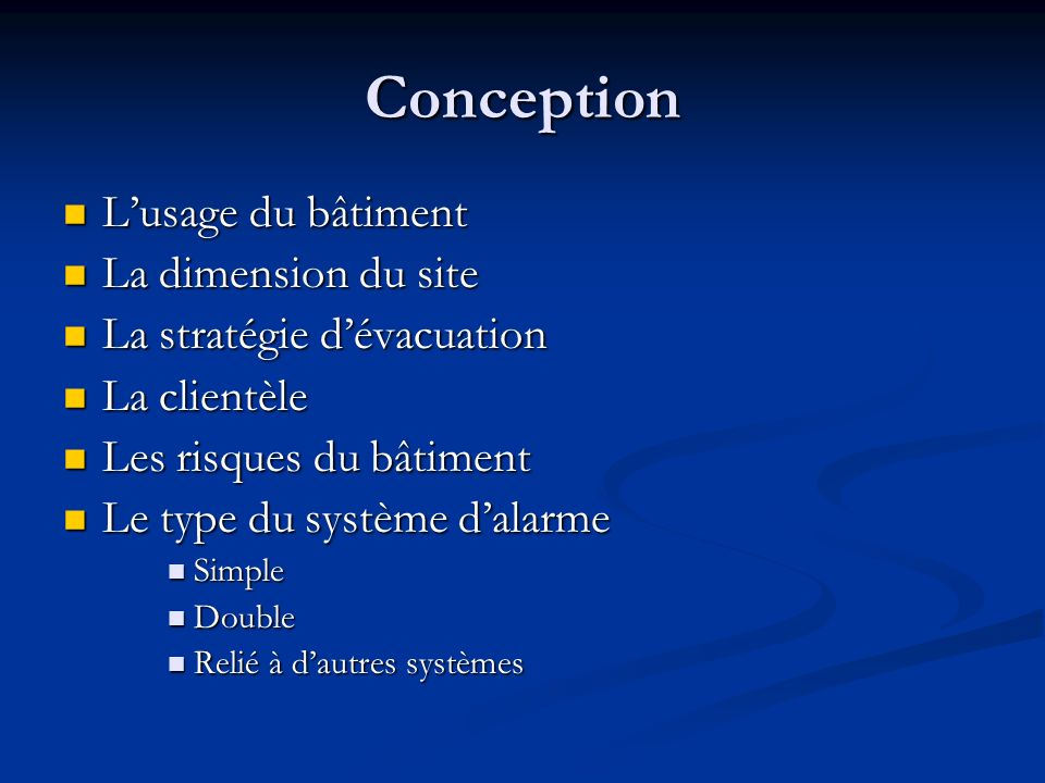 Conception L'usage du bâtiment La dimension du site
