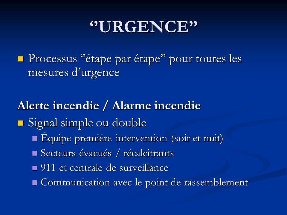 ''URGENCE'' Processus ''étape par étape'' pour toutes les mesures d'urgence. Alerte incendie / Alarme incendie.