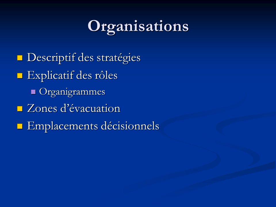 Organisations Descriptif des stratégies Explicatif des rôles
