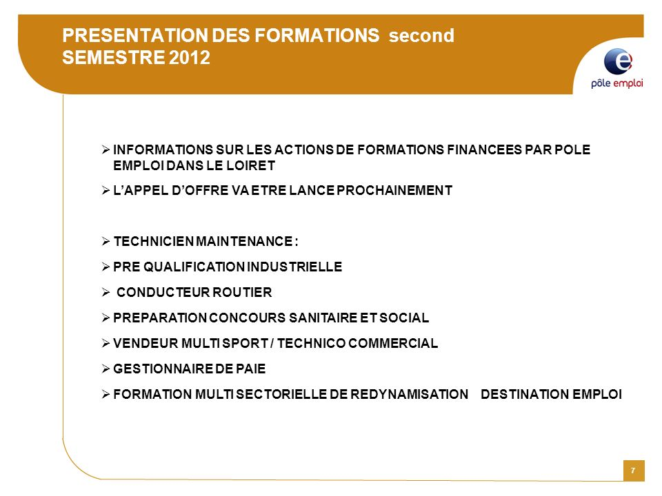 PRESENTATION DES FORMATIONS second SEMESTRE 2012