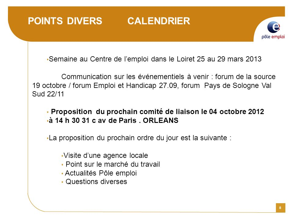 POINTS DIVERS CALENDRIER