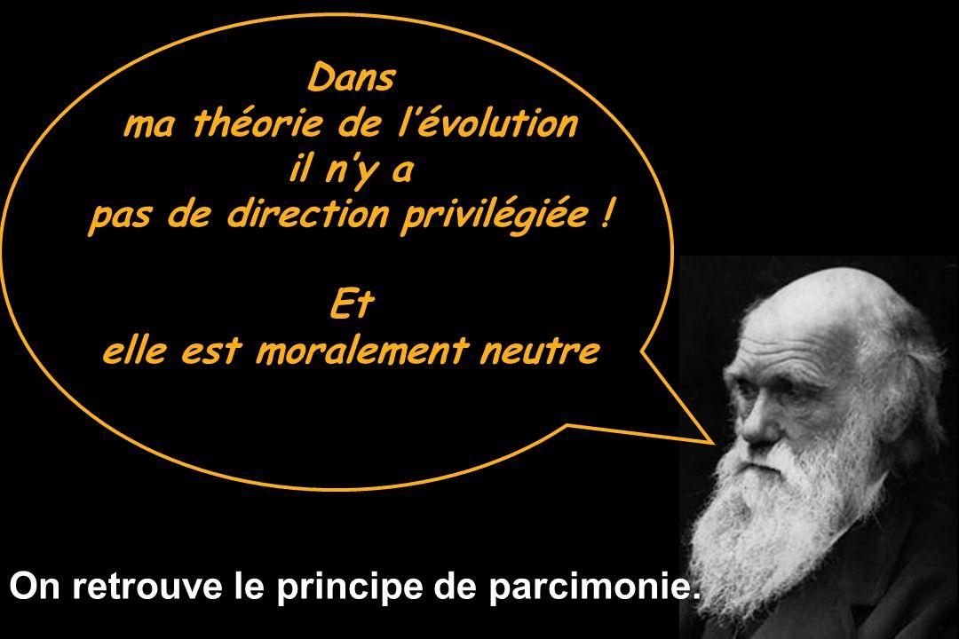 ma théorie de l'évolution il n'y a pas de direction privilégiée ! Et
